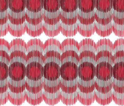 Scalloping Circles Ikat Dark Red and Gray fabric by boxwood_press on Spoonflower - custom fabric