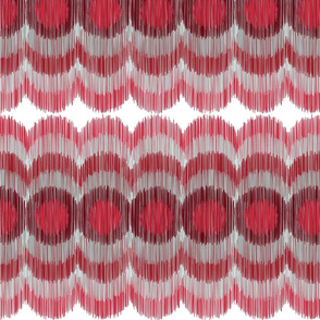 Scalloping Circles Ikat Dark Red and Gray