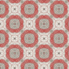 Coral Grey Floral Damask Pattern 1