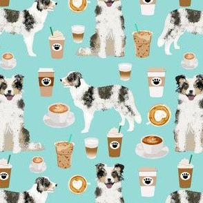border collie blue merle coffee fabric cute dogs fabric blue merle coffees cute border collies dogs fabric