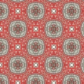 Coral Grey Floral Damask Pattern 2