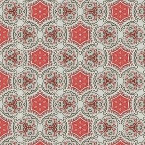 Coral Grey Floral Damask 3
