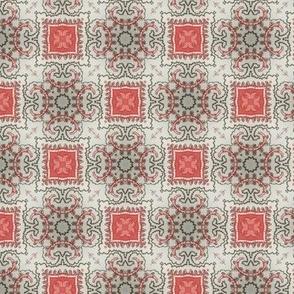 Coral Grey Floral Damask Pattern 4