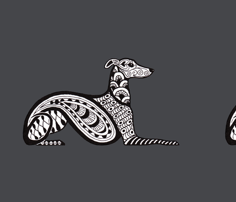 Whippet_in_Charcoal_18_Sq fabric by shinypennyshop on Spoonflower - custom fabric