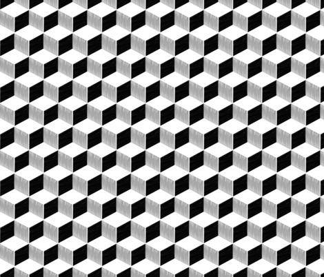Monochrome cube fabric by blackstage_design on Spoonflower - custom fabric