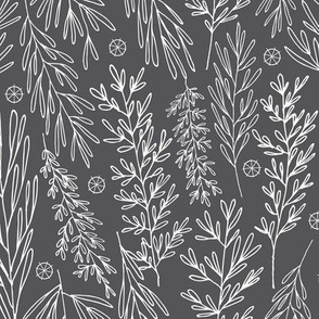 Christmas Boughs in Charcoal // Gift wrap or Fun Christmas fabric // Doodle style repeating pattern by Zoe Charlotte
