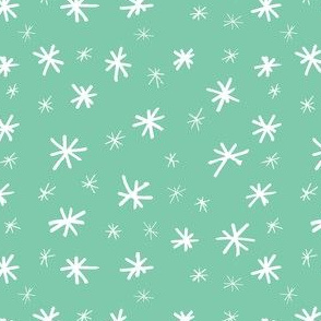 Stars in Mint // Gift wrap or Fun Christmas fabric // Doodle style repeating pattern by Zoe Charlotte