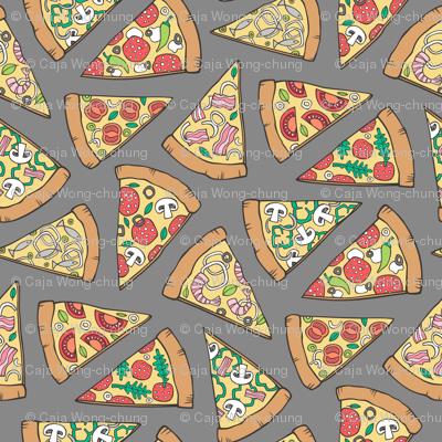 Pizza Fast Junk Food on Dark Grey