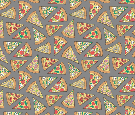 Pizza Fast Junk Food on Dark Grey fabric by caja_design on Spoonflower - custom fabric