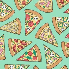 Pizza Fast Junk Food on Green Mint