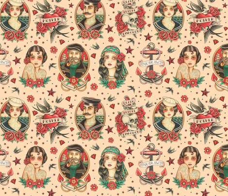 OLD SCHOOL TATOO fabric by crixtina on Spoonflower - custom fabric