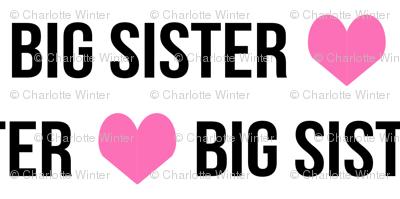 big sister small mini print cute girls heart text font design