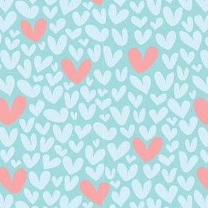 Hearts in Blue // Repeating pattern for Wallpaper or Children's fabrics // Girly print by Zoe Charlotte