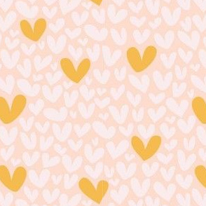 Pink and Gold Hearts // Repeating pattern for Wallpaper or Children's fabrics // Girly print by Zoe Charlotte