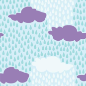 April Showers in Feelin' Blue // Repeating pattern for Wallpaper or Children's fabrics // Nursery print by Zoe Charlotte
