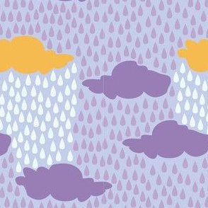 April Showers in Purple Rain // Repeating pattern for Wallpaper or Children's fabrics // Nursery print by Zoe Charlotte