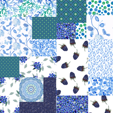 Blue berry patchwork fabric by magic_pencil on Spoonflower - custom fabric