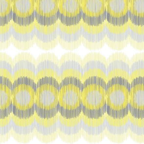 Scalloping Circles Ikat Yellow and Gray
