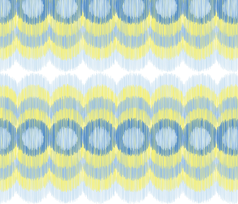 Scalloping Circles Ikat Yellow and Blue fabric by boxwood_press on Spoonflower - custom fabric