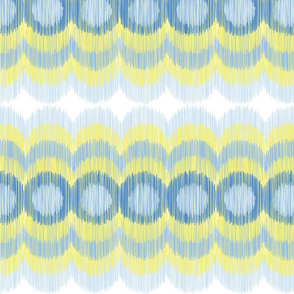 Scalloping Circles Ikat Yellow and Blue