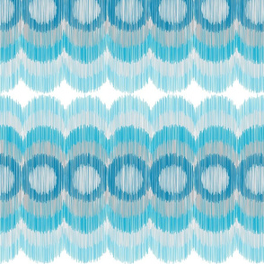 Scalloping Circles Ikat Turquoise and Gray