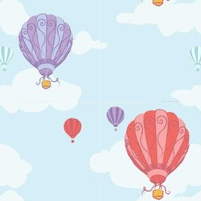 Colourful Balloons in Sky Blue // Repeating pattern for Wallpaper or Children's fabrics // Nursery print by Zoe Charlotte