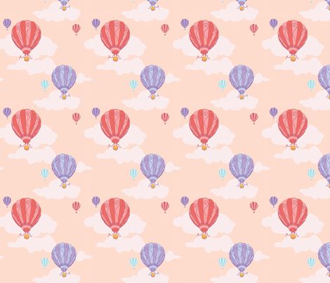 Colourful Balloons in Coral Pink // Repeating pattern for Wallpaper or Children's fabrics // Nursery print by Zoe Charlotte fabric by zoecharlotte on Spoonflower - custom fabric