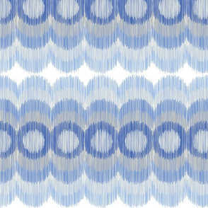 Scalloping Circles Ikat Blue Muted and Gray