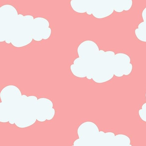 Clouds in Bright Coral // Repeating pattern for Wallpaper or Children's fabrics // Nursery print by Zoe Charlotte