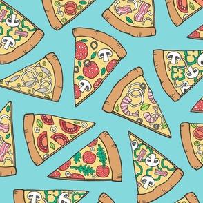 Pizza Fast Junk Food on Blue