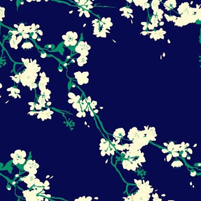 Cherry Blossoms - Navy & Emerald
