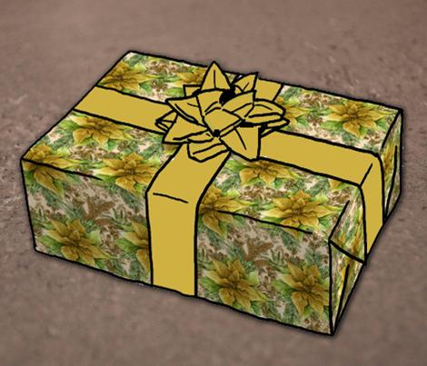 Poinsettia Gift Wrap Gold