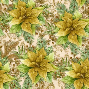Poinsettia Gift Wrap Gold