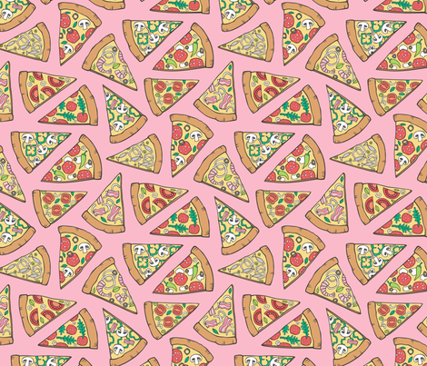 Pizza Fast Junk Food on Pink fabric by caja_design on Spoonflower - custom fabric