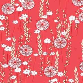 Wildflowers in Red // Meadow of Flowers limited palette original floral repeating pattern by Zoe Charlotte