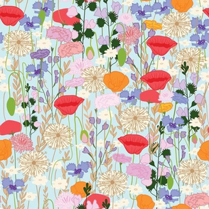 Wildflowers in Pale Blue // Meadow of flowers floral repeating pattern by Zoe Charlotte