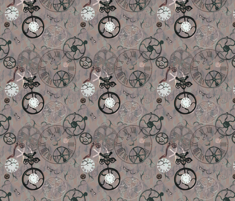 Running on vintage time - sepia small fabric by rusticcorgi on Spoonflower - custom fabric