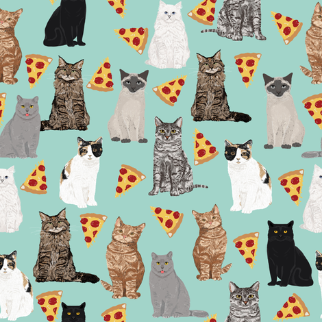 pizza cats cute mint cat lady fabric cute food pizzas fabric  fabric by petfriendly on Spoonflower - custom fabric