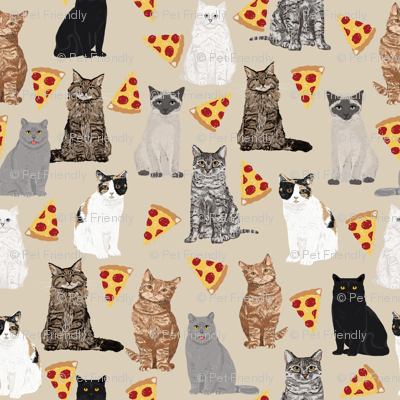 Pizza Cats Cute Cats With Pizzas Fabric Adorable Kitty