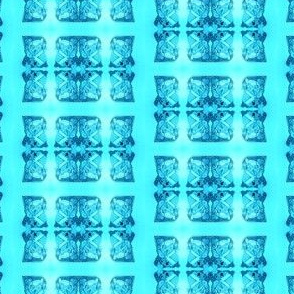 Father Christmas Squares Off, Blue on Turquoise