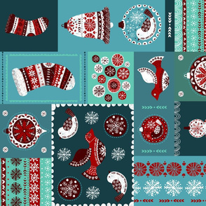 christmas tea towel folksy quilt style