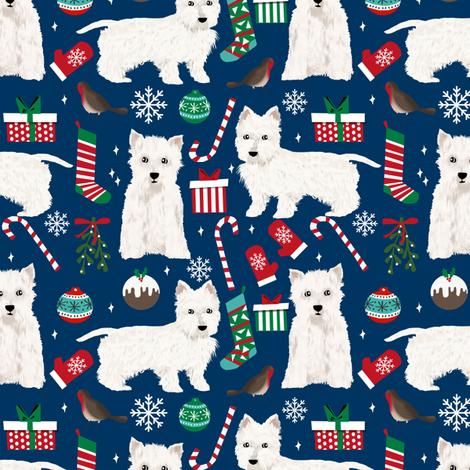 westie chrsitmas fabric cute west highland terrier fabrics cute christmas dogs cute fabrics  fabric by petfriendly on Spoonflower - custom fabric