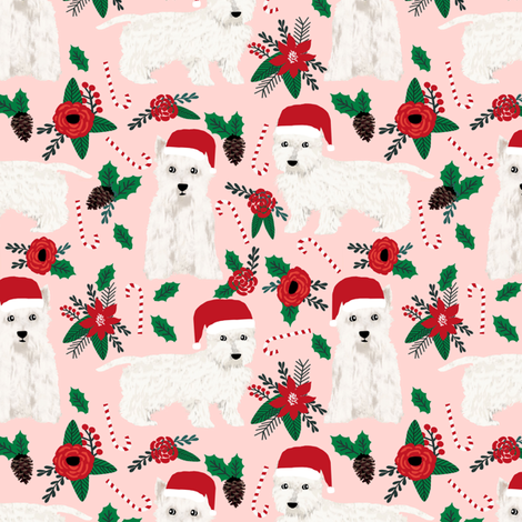 westie poinsettia fabric cute west highland terriers dogs fabric cute pink christmas fabric  fabric by petfriendly on Spoonflower - custom fabric