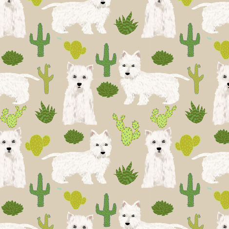 Westie Cactus Fabric West Highland Terriers Fabric Cute