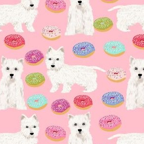 westie dogs fabric cute donuts design best pink pastels donuts fabric cute pink west highland terriers