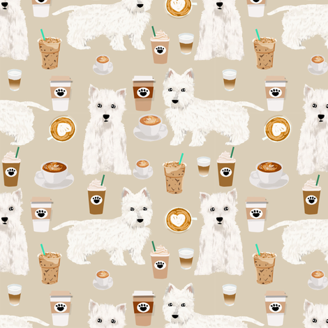 westies coffee fabric cute west highland terrier dog fabrics cute westies design cute coffees fabric fabric by petfriendly on Spoonflower - custom fabric