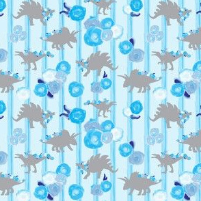 16-05U Grey Gray boy girl dinosaurs 4 x3 || animal sky royal navy  blue white floral botanical garlands painted blue stripes _ Miss Chiff Designs
