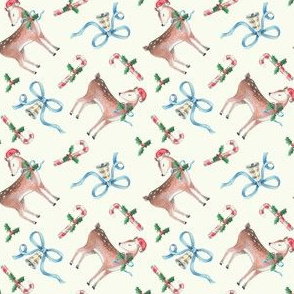 Vintage Reindeer and Candy Canes on Cream