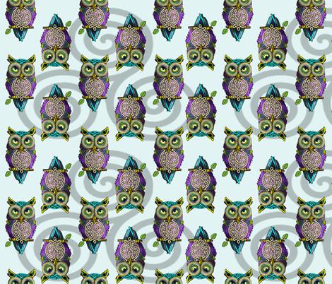 Celtic_Owls fabric by deva_kolb on Spoonflower - custom fabric