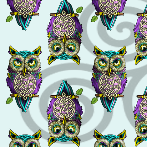Celtic_Owls fabric by deva_kolb on Spoonflower - custom fabric